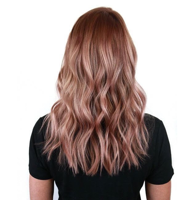 radiant rose gold metallic hair color