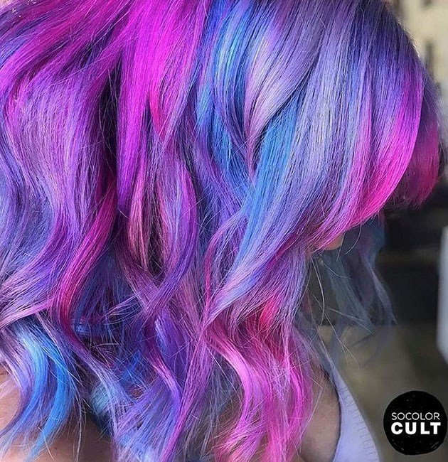 pink purple vibrant hair color