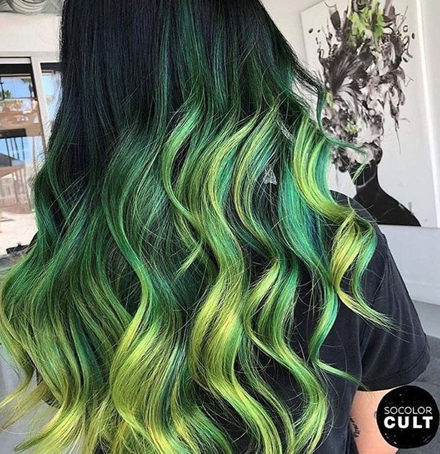 green vibrant hair color