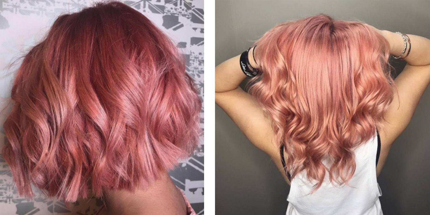 Long Length Hair Rose Gold Ombre Color