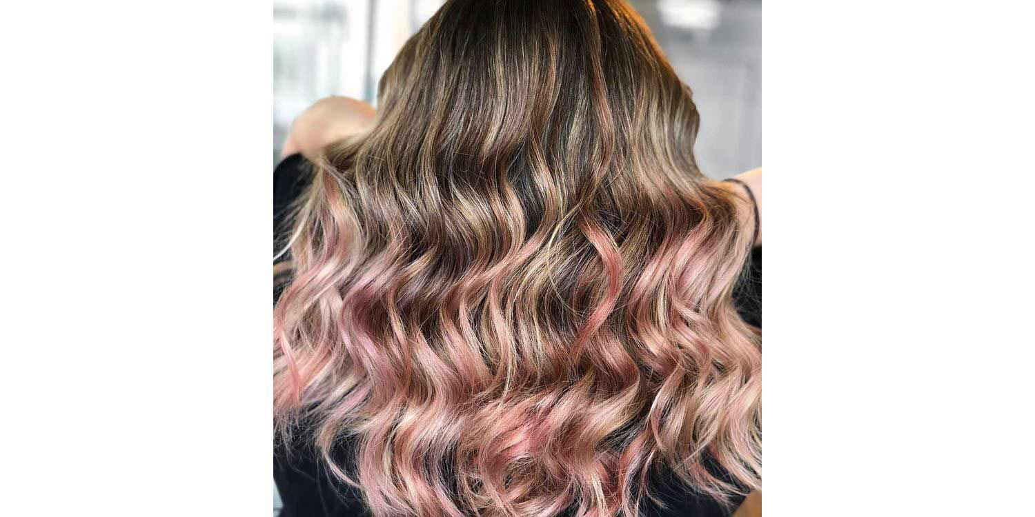 Pink-Steel highlights for dark hair