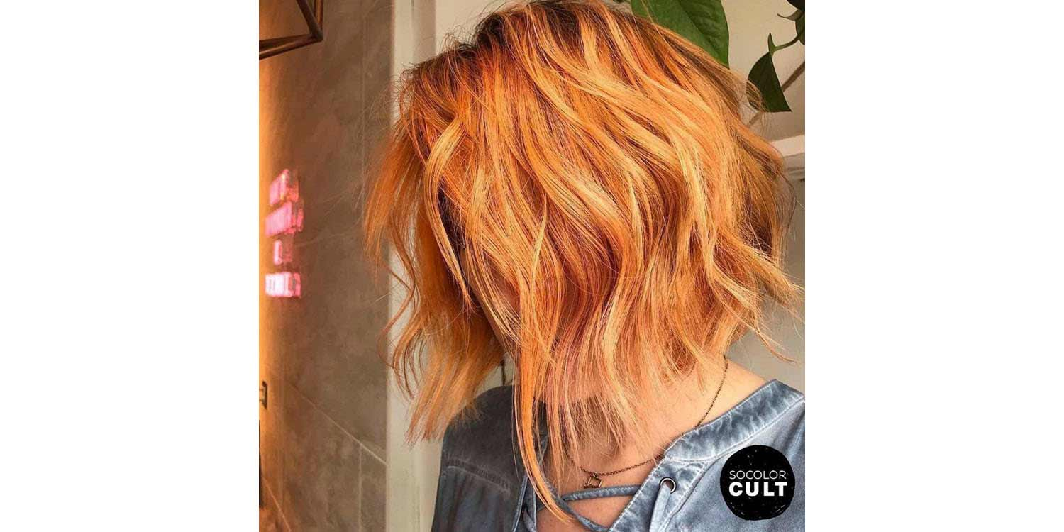 Tousled Persimmon Lob Medium hairstyle