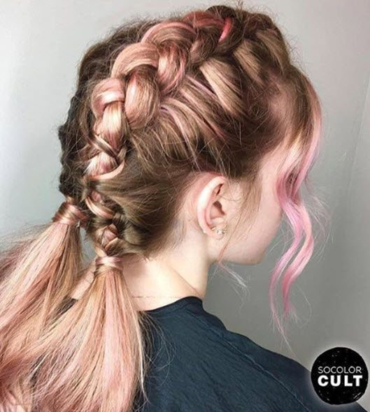 French Braided Pigtails Hairstyle Matrix Lookbook